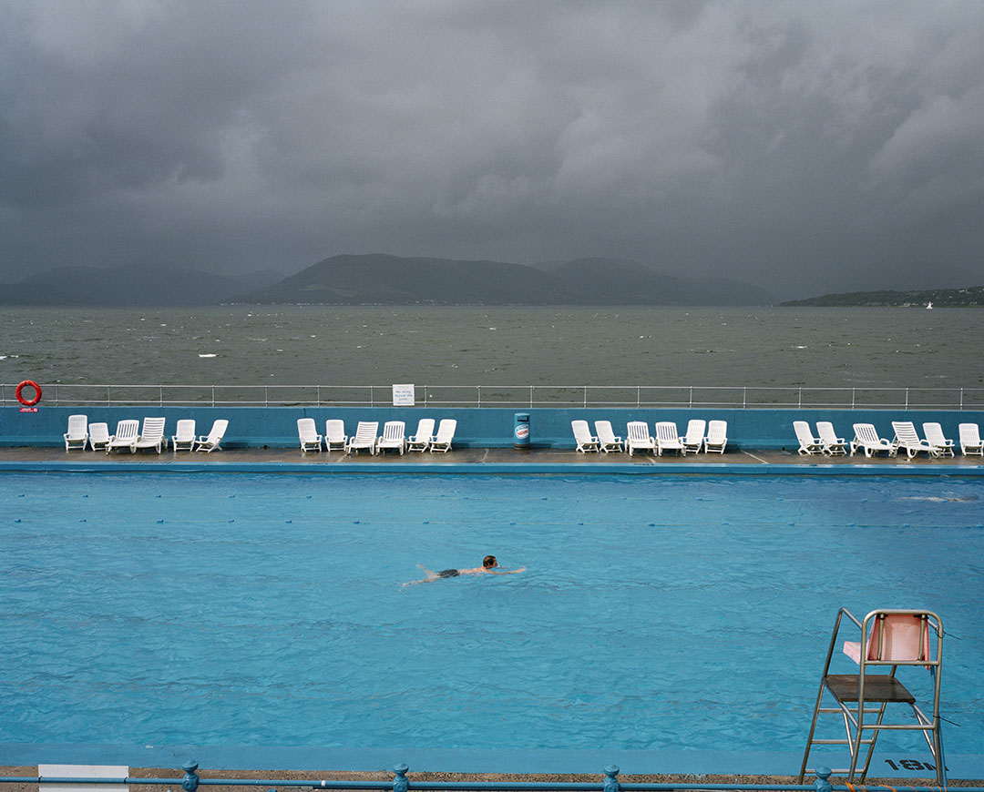 A solitary swim at an outdoor pool in Scotland, 1995