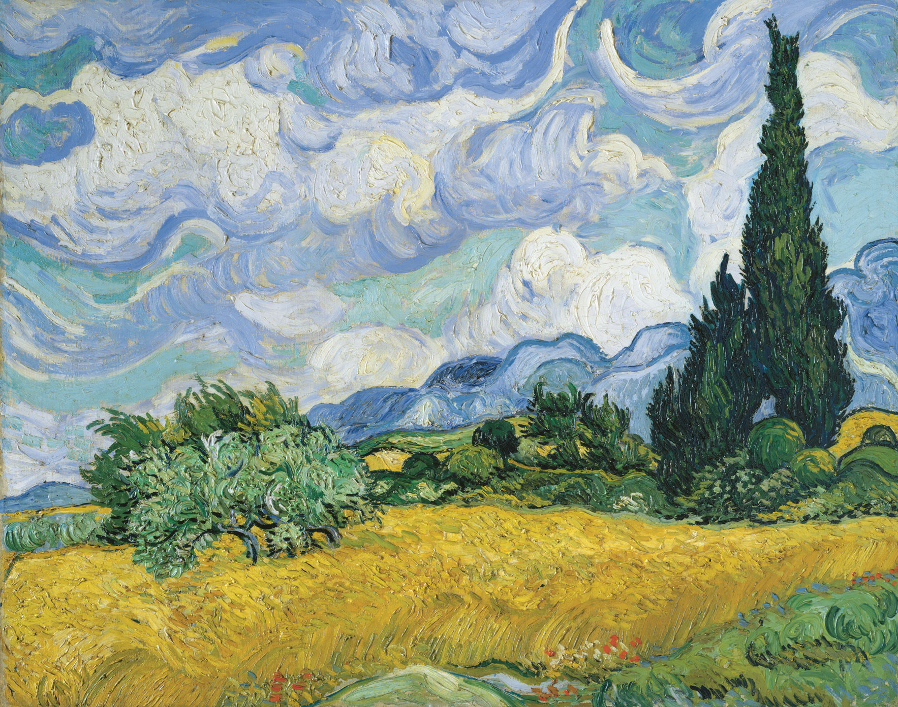 A staggering array of artists' depictions of landscape assault your eye, and you home in on a soothing painting by van Gogh called Wheat Field with Cypress. From Art =