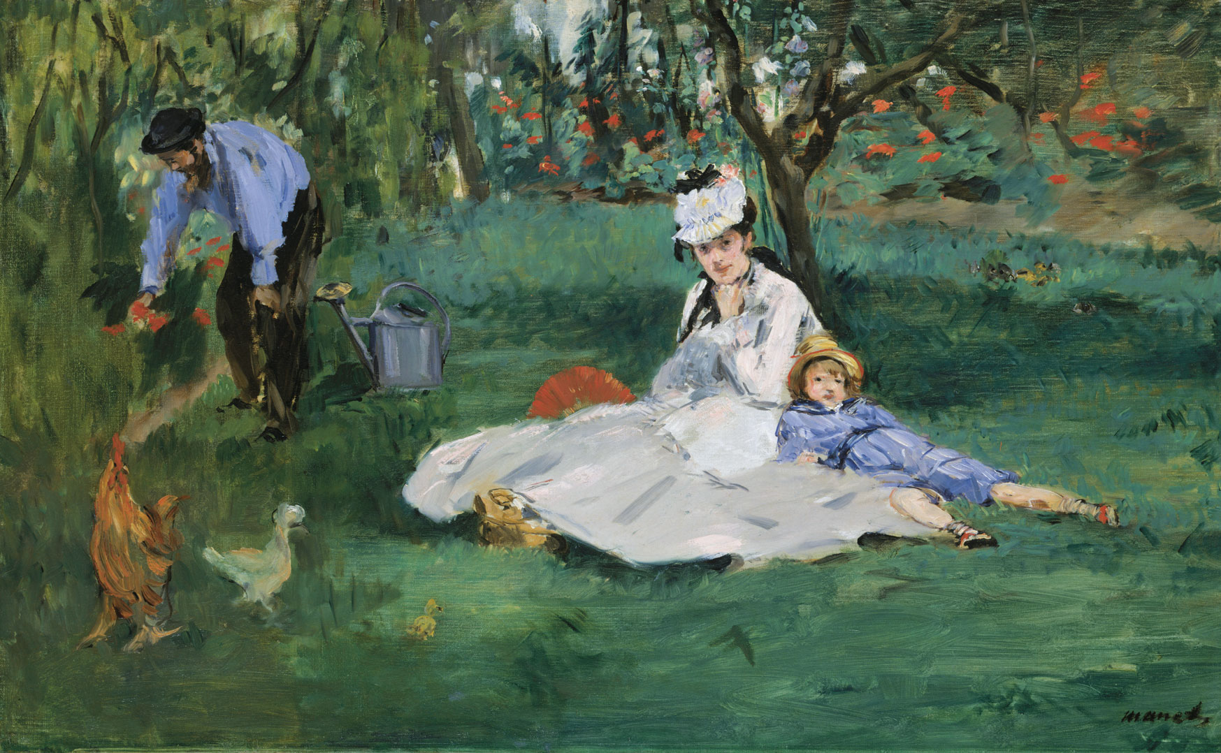 Lots of women and children, obviously, but there is one lovely little Impressionist painting by Manet of the Monet family in their garden. From Art =