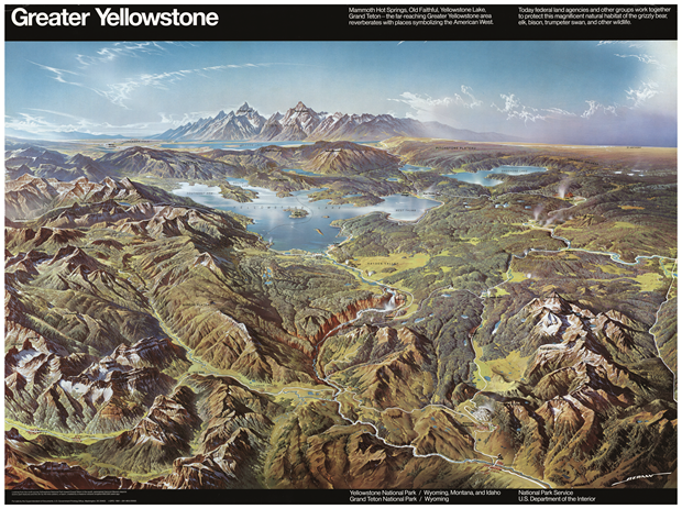 Greater Yellowstone, 1962, Heinrich C. Berann Printed paper, 74 x 100 cm / 29 x 39 1/2 in., private collection. David Rumsey Map Collection. From Map