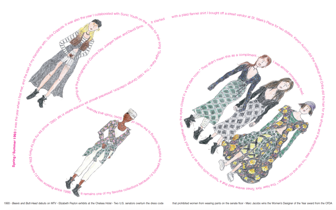 Spring / Summer 1993, designs Marc Jacobs, drawings Grace Coddington. Typography and book design by Takaaki Matsumoto. From Marc Jacobs Illustrated