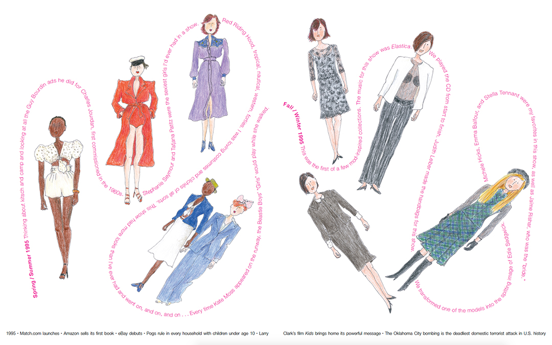 Spring/Summer 1995 (left) and Fall/Winter 1995 (right), designs Marc Jacobs, drawings Grace Coddington. © 2019 Grace Coddington / typography and book design by Takaaki Matsumoto.