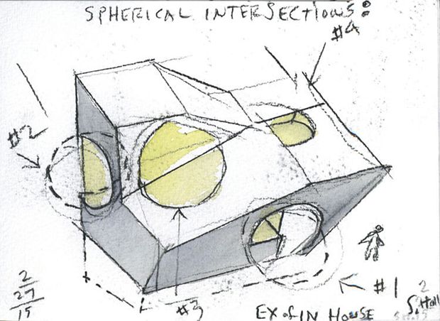 Steven Holl's water-colour plans for the Ex of In house - image courtesy of Steven Holl Architects