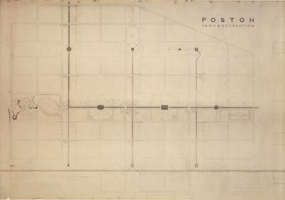 Isamu Noguchi, Poston Park and Recreation Areas at Poston, Arizona, 1942. Blueprint. ©The Isamu Noguchi Foundation and Garden Museum / Artists Rights Society (ARS).