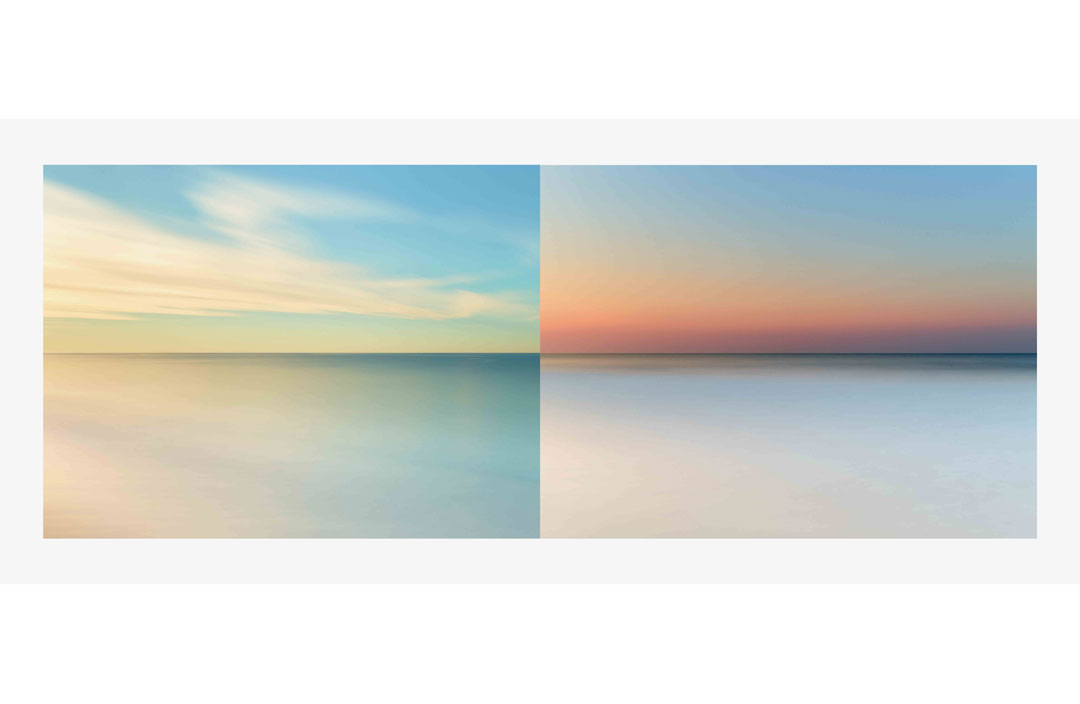Two images form Fabien Baron's Liquid Llight Series II as a diptych, 2017