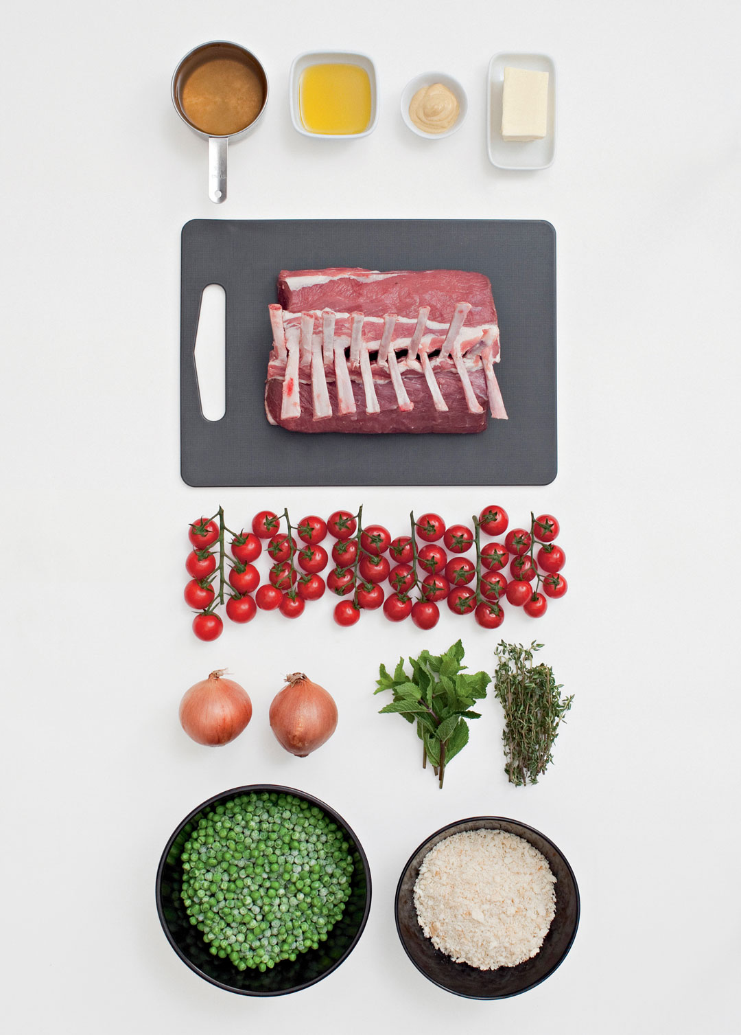 The ingredients for herb crusted lamb