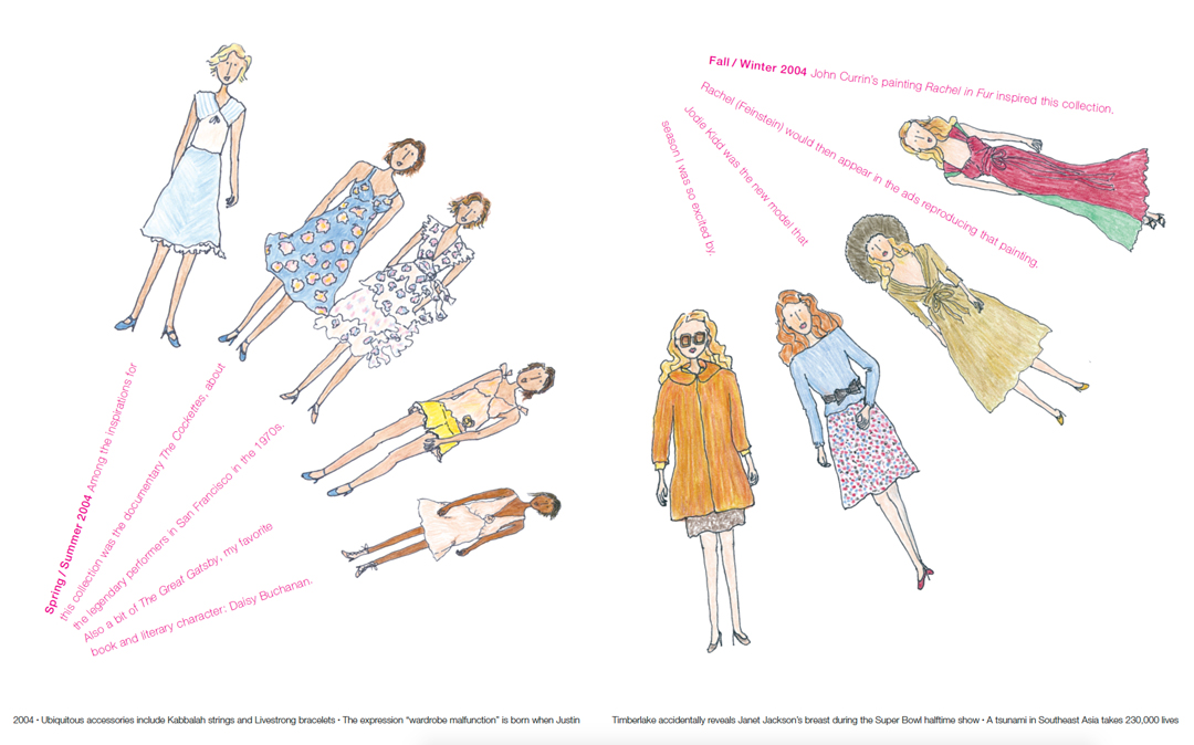 Spring / Summer 2004 (left), Fall / Winter 2004 (right), designs Marc Jacobs, drawings Grace Coddington. As reproduced in Marc Jacobs Illustrated