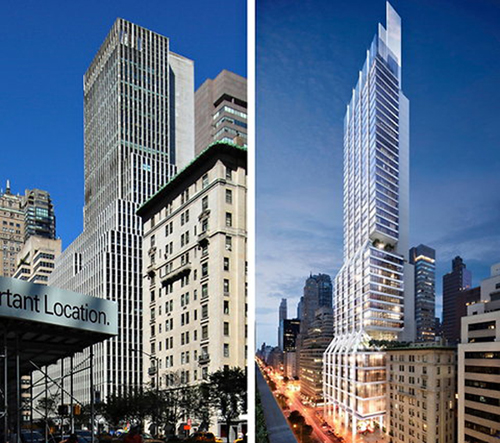 Foster's conceptual design for 425 Park Avenue, New York. David W. Dunlap/The New York Times (left), dbox for Foster & Partners/L&L Holding Company (right)