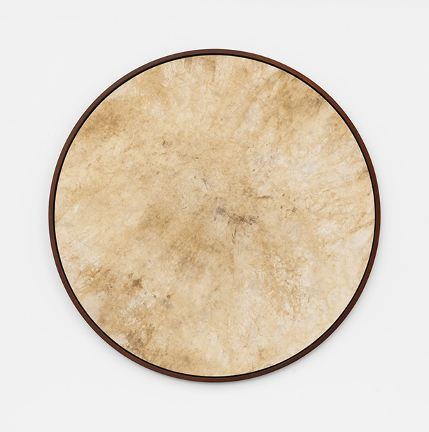 Davide Balula, River Painting, sediment on canvas, 2015 120 cm diameter. Part of the installation: Davide Balula, Painting the Roof of your Mouth (Ice Cream), 2015; dimensions variable. Courtesy Galerie Frank Elbaz, Paris and François Ghebaly Gallery, Los Angeles. With the support of Noirmontartproduction, Paris