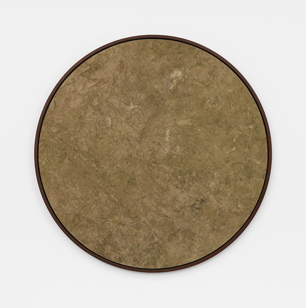 Davide Balula, Buried Painting, 2015. Dirt particles on canvas 120cm diameter. Part of the installation: Davide Balula, Painting the Roof of your Mouth (Ice Cream), 2015; dimensions variable. Courtesy Galerie Frank Elbaz, Paris and François Ghebaly Gallery, Los Angeles. With the support of Noirmontartproduction, Paris