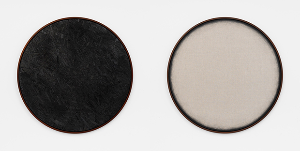 Burnt Painting, Imprint of the Burnt Painting, 2015 Charred wood, Dust of charred wood on canvas 120cm diameter. Courtesy Galerie Frank Elbaz, Paris and François Ghebaly Gallery, Los Angeles. With the support of Noirmontartproduction, Paris
