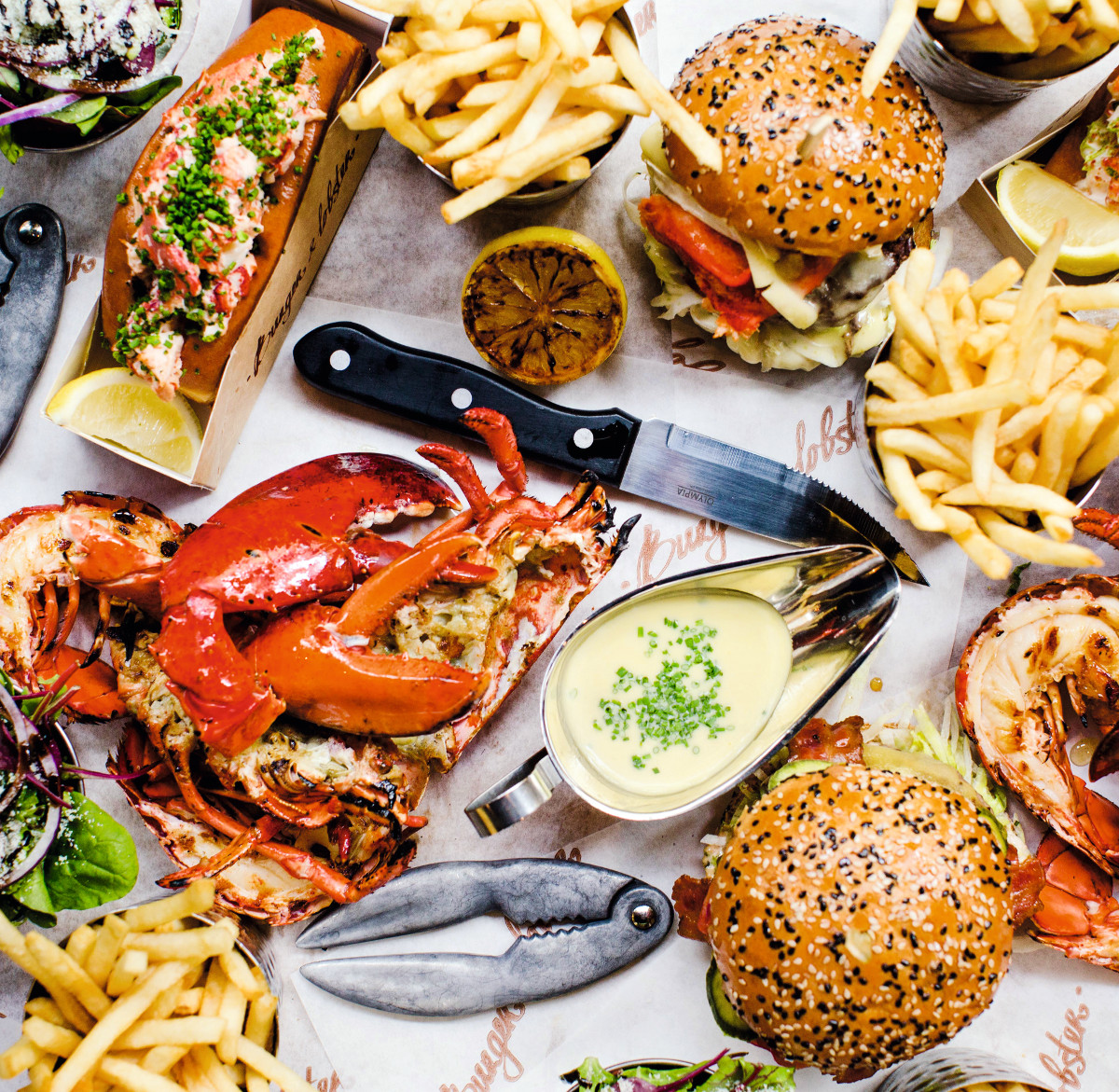 Fries on the side at Burger and Lobster, as reproduced in The World is Your Burger