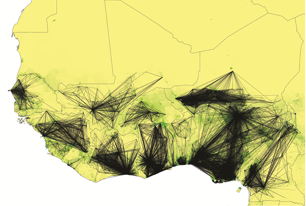 Human Mobility and the Spread of Ebola in West Africa, 2014, Flowminder Foundation Digital, dimensions variable. Flowminder Foundation and WorldPop project. From Map