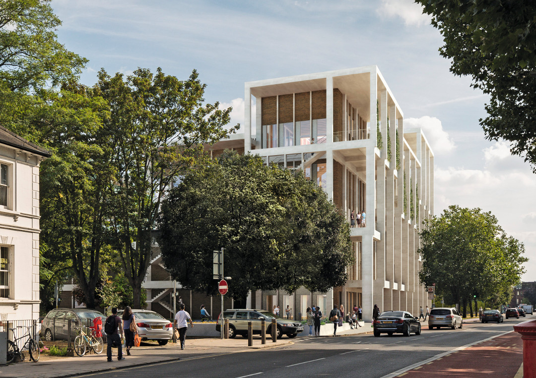 Exterior rendering of the Town House, Kingston-up-Thames by Grafton Architects