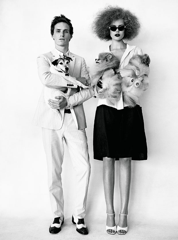 Eddie Redmayne in Burberry London and Frida Gustavsson in Narciso Rodriguez by Patrick Demarchelier, 2009. As Reproduced in Saving Grace: My Fashion Archive 1968-2016 and Grace: The American Vogue Years.