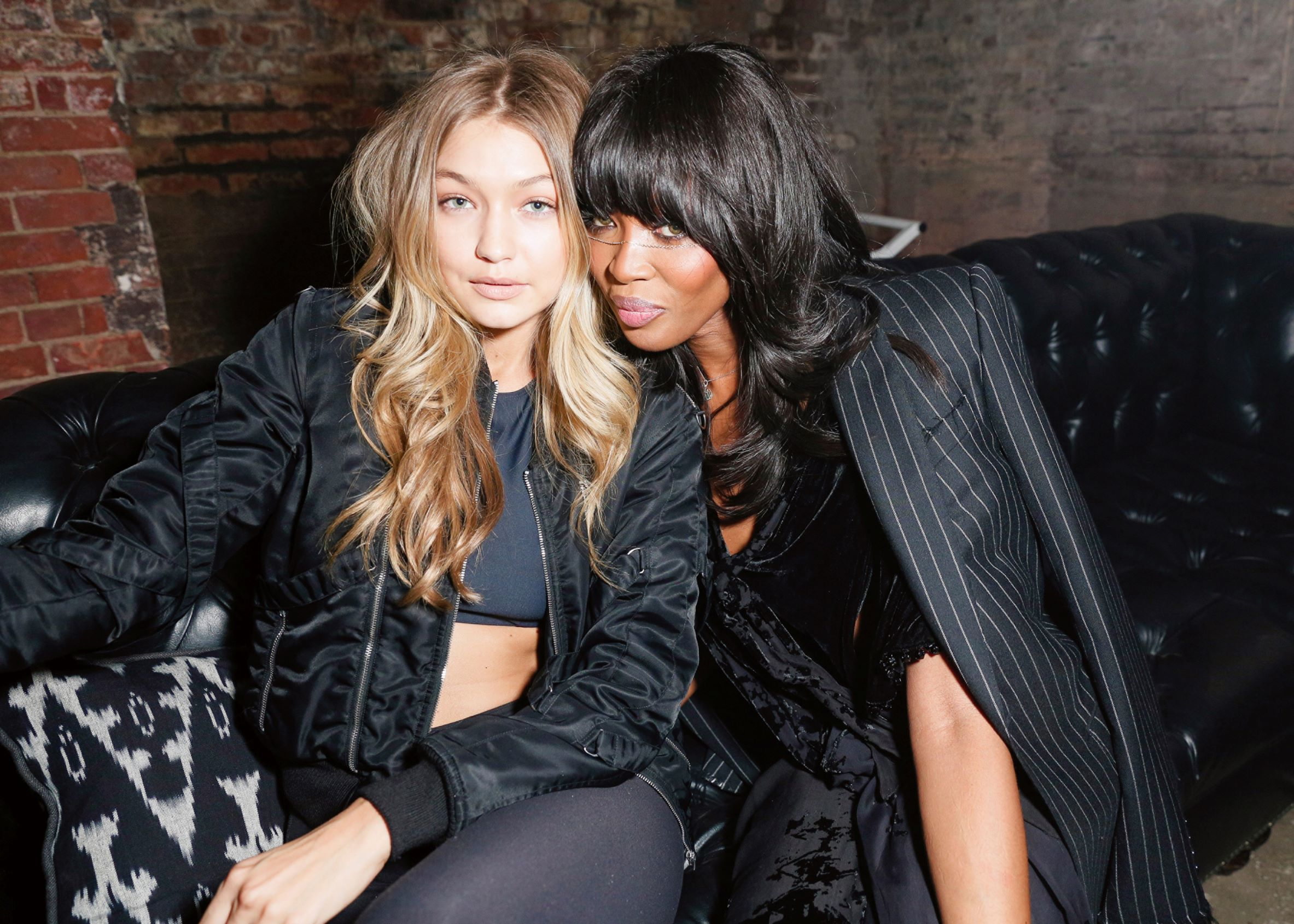 Gigi Hadid and Naomi Campbell at the 'Macabre Suite' by Lucien Smith, 2401 3rd Avenue, Bronx, NY, USA, 2015. Photo by Matteo Prandoni/BFA.com