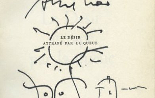 The title page from the a 1964 French edition of Desire Caught by The Tail, signed by Picasso