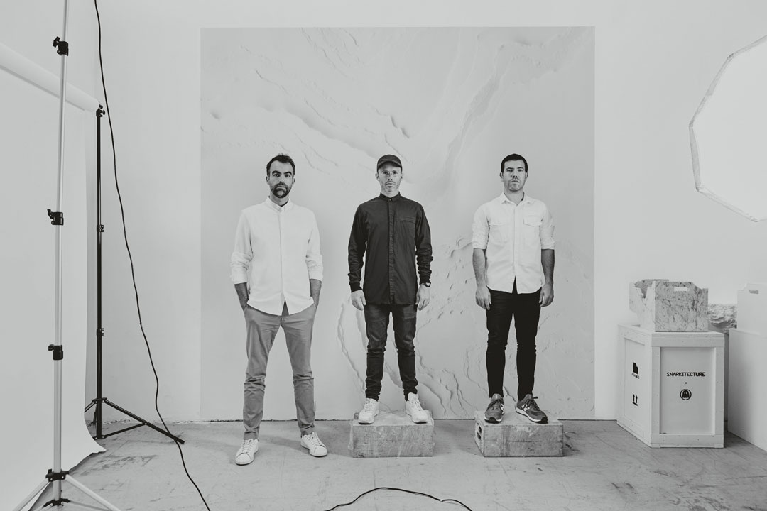 Snarkitecture partners Alex Mustonen, Daniel Arsham and Benjamin Porto, 2017. Picture credit: photograph © Noah Kalina, courtesy of Snarkitecture