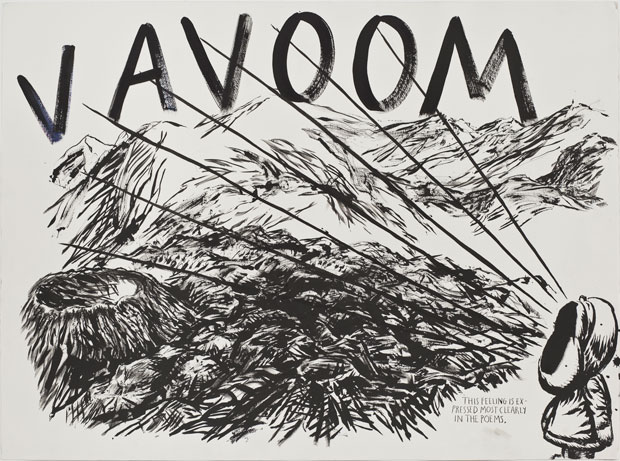 Raymond Pettibon, No Title (This feeling is), 2011. Pen and ink on paper, 37 ¼ x 49 ½ in (94.6 x 125.7 cm). Private collection. Courtesy Regen Projects, Los Angeles. As featured in Raymond Pettibon: A Pen of All Work