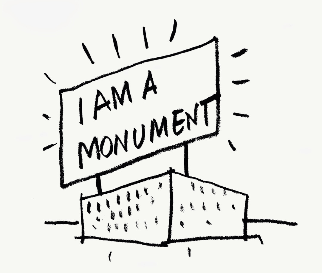 Robert Venturi and Denise Scott Brown, I am a Monument, 1972, ink on paper. Picture credit: Architectural Archives of the University of Pennsylvania | Venturi, Scott Brown Collection. From Drawing Architecture ​