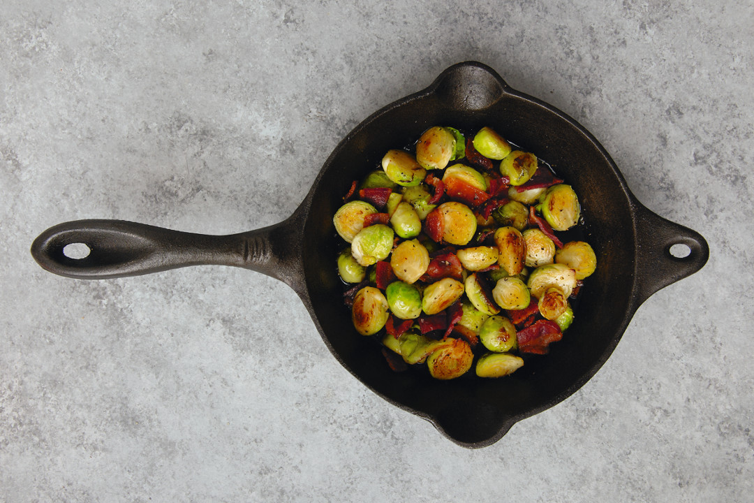 Maple glazed Brussel sprouts with bacon, as featured in America the Cookbook