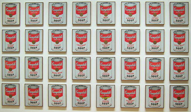 andy warhol campbell's soup can paintings on display