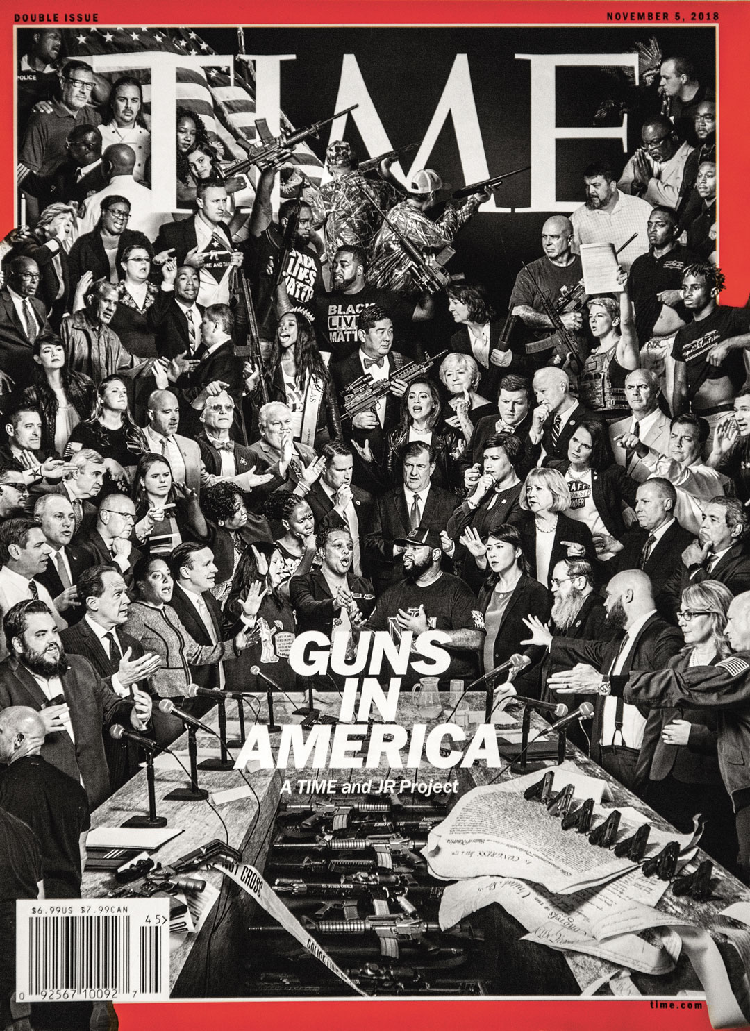 Guns in America' cover, Time magazine, 5 November 2018. Part of JR's The Gun Chronicles: A Story of America