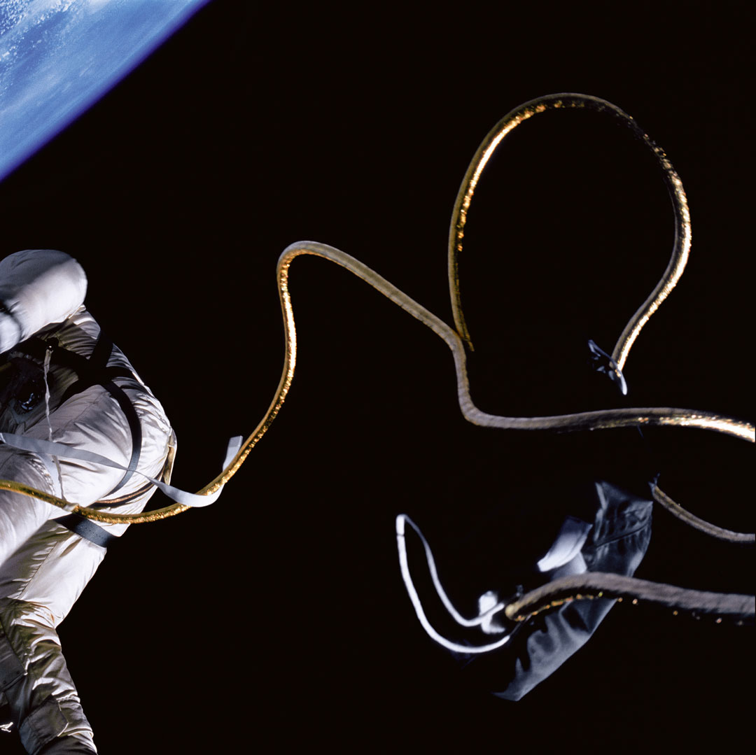 James McDivitt, Edward White on the first American spacewalk, aboard Gemini 4, 3 June 1965, from Full Moon by Michael Light, 1999. Negative/transparency – NASA, digital image ©1999 Michael Light