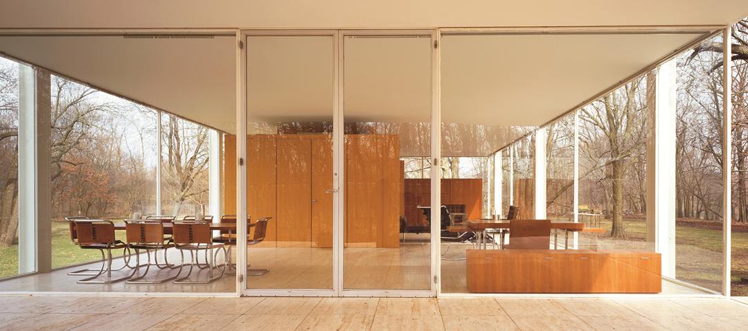 Mies van der Rohe, Farnsworth House, Plano, Illinois, 1945–51; view from porch looking into living area, from Mies. Jon Miller / Hedrich Blessing © Arcaid2013