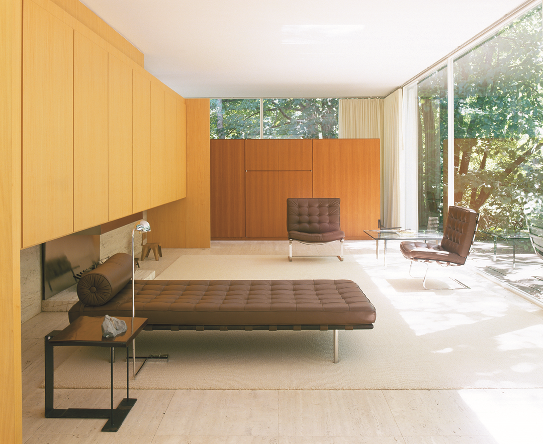 Mies van der Rohe, Farnsworth House, Plano, Illinois, 1945–51; view from porch looking into living area, from Interiors and Mies. © Alan Weintraub /Arcaid / Corbis