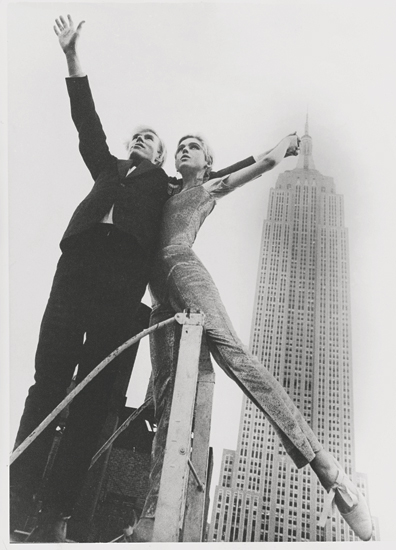 Warhol with Edie Sedgwick during a fashion shoot for Betsy Johnson (1965)