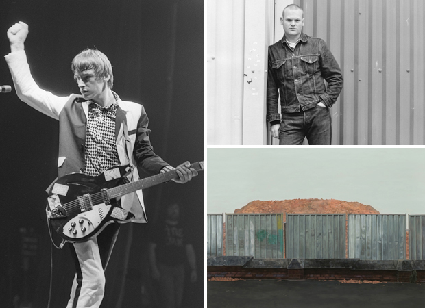 Paul Weller of the Jam at the Manchester Apollo Theatre (1979) (left) photograph by Howard Barlow, photograph of the artist by Jane Sebire (top right) and his work 'Tryst at a Recent Earthwork' (2011) (bottom right)