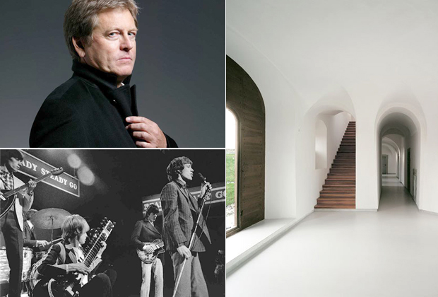 Portrait of the Architect John Pawson who has chosen this week's Muse Music (top left), image from the interior of his Novy Dvur Monastery (2003) (right) and The Rolling Stones (bottom left) who feature on his playlist
