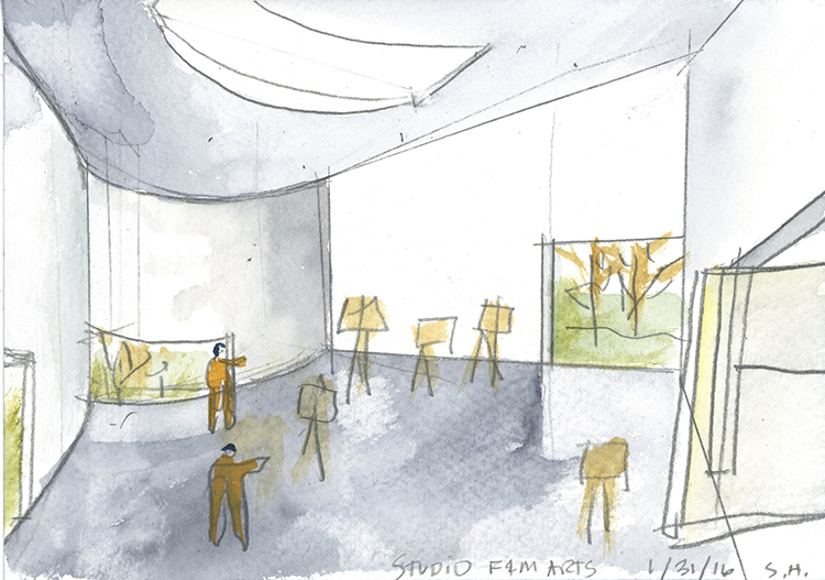 Holl's water-colour plans for the new Visual Arts Building at Franklin & Marshall College, Lancaster, Pennsylvania, by Steven Holl. Image courtesy of stevenholl.com