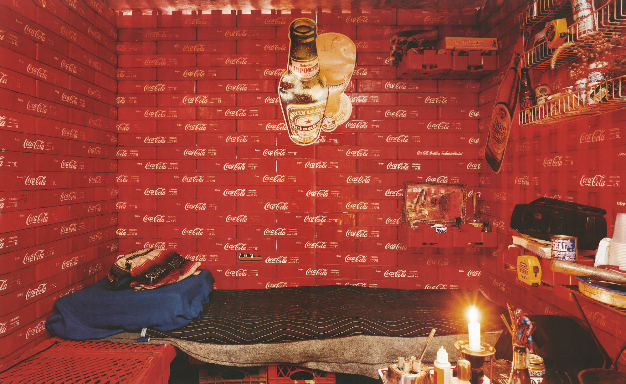 Nest 19, Winter 2002-03. The Workhouse. (Peter's Coca-Cola house, assembled from plastic Coke crates, Harlem, New York, NY). Photograph: Ejlat Feuer.