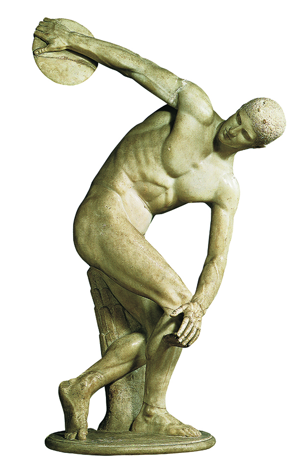 Myron, Discobolos, c.470–440 BC, marble, H 155 cm (61 in), Palazzo Massimo alle Terme, Rome (Roman copy after Greek original). From Body of Art