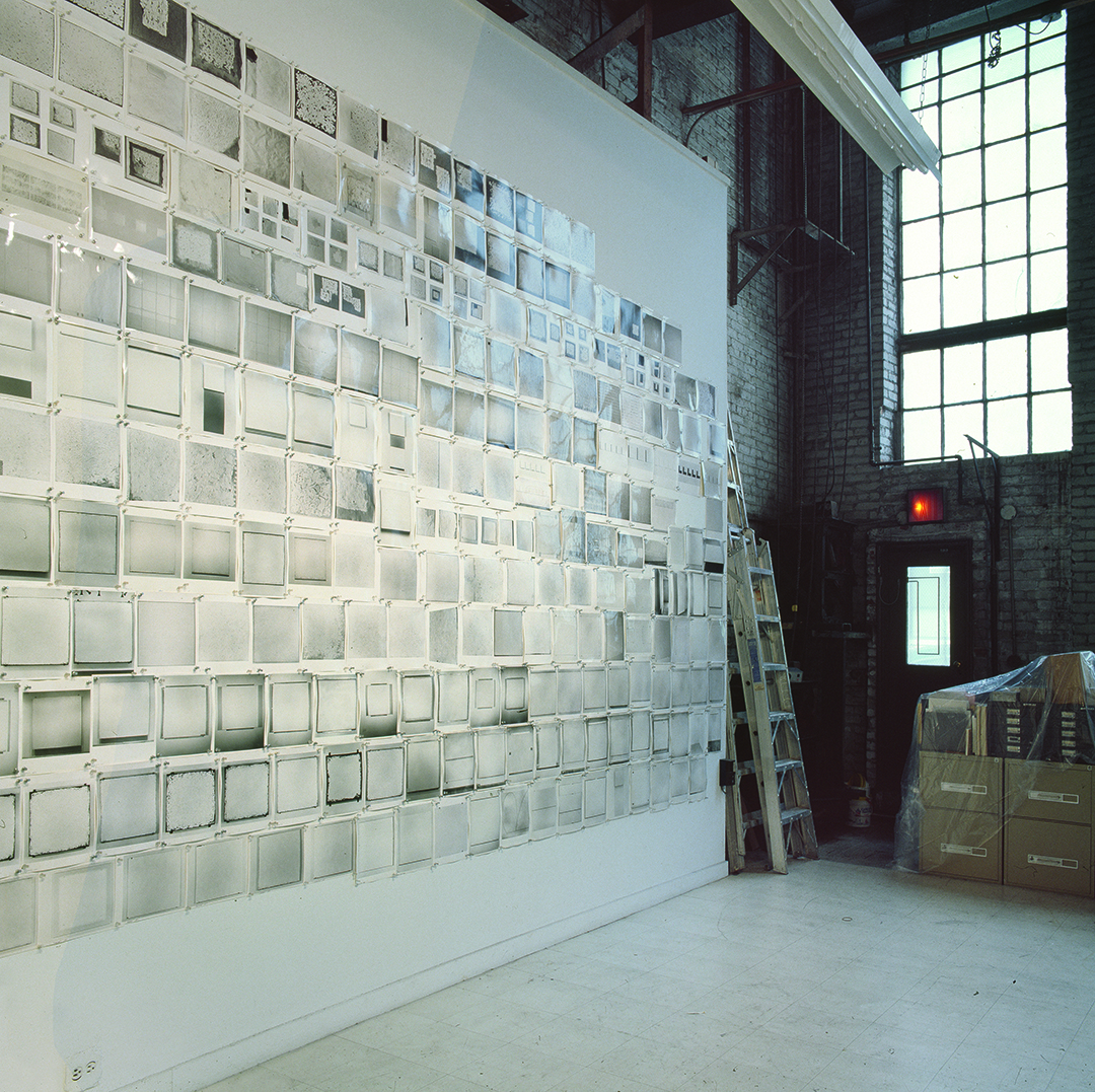 A wall of photographs in Robert Ryman's studio, New York. Photograph by Bill Jacobson