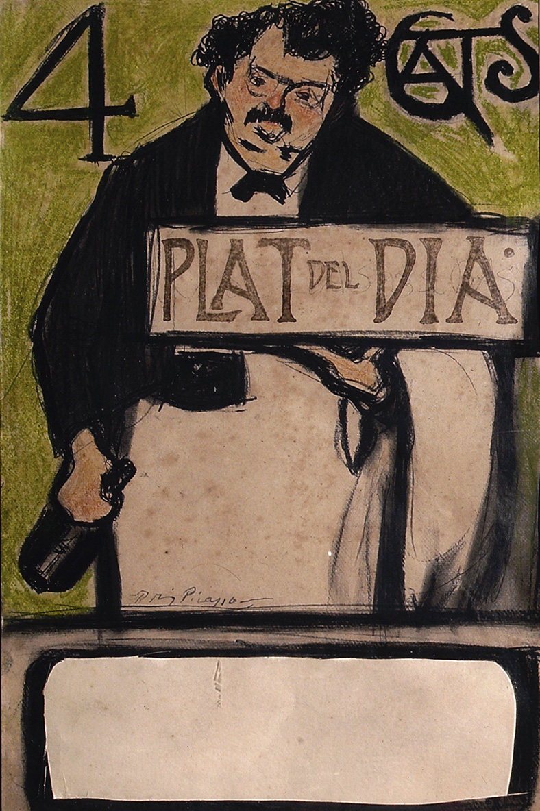 Menu for the Quatre Gats, Dish of the Day Pablo Picasso  c 1900, Wax and ink on paper, 45.5 × 29 cm