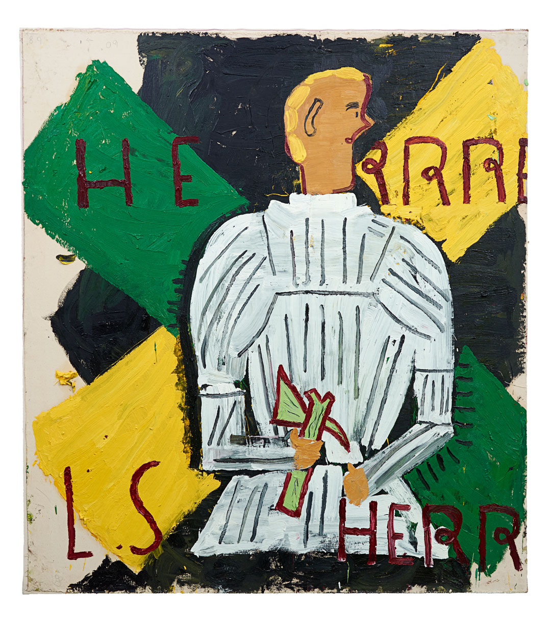 Herr Rehlinger in White Armour (2014) by Rose Wylie. As reproduced in Vitamin P3