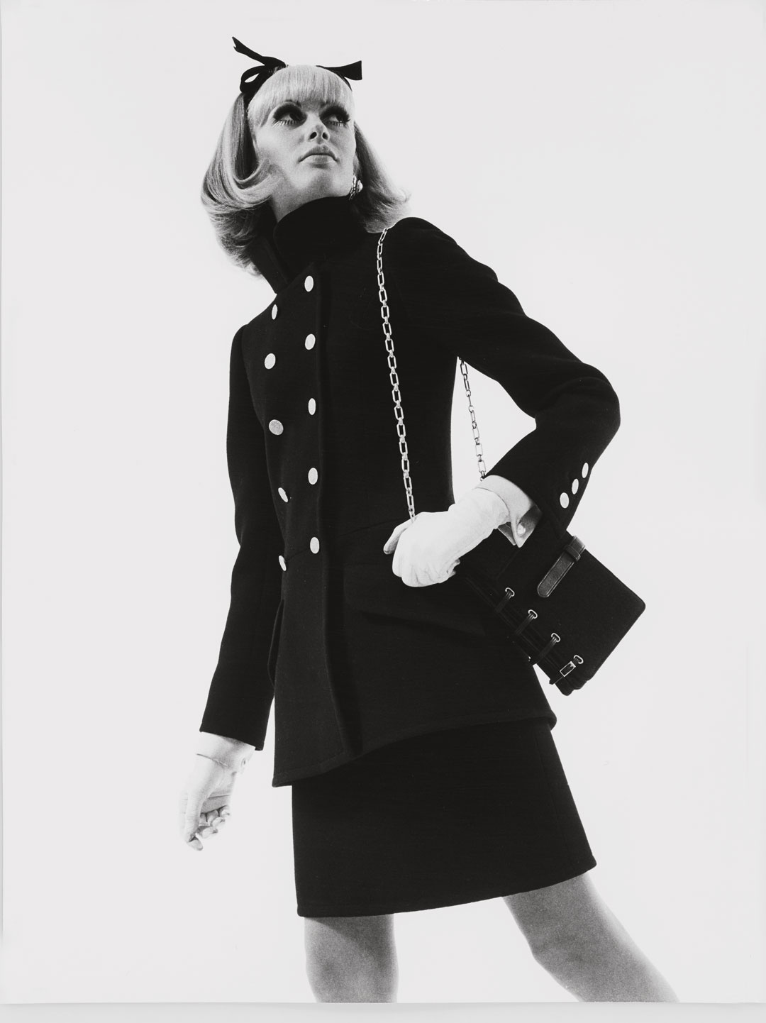Suede 'book-bag', worn with a cocktail suit, Autumn/Winter 1967 haute couture collection. Photograph Peter Caine