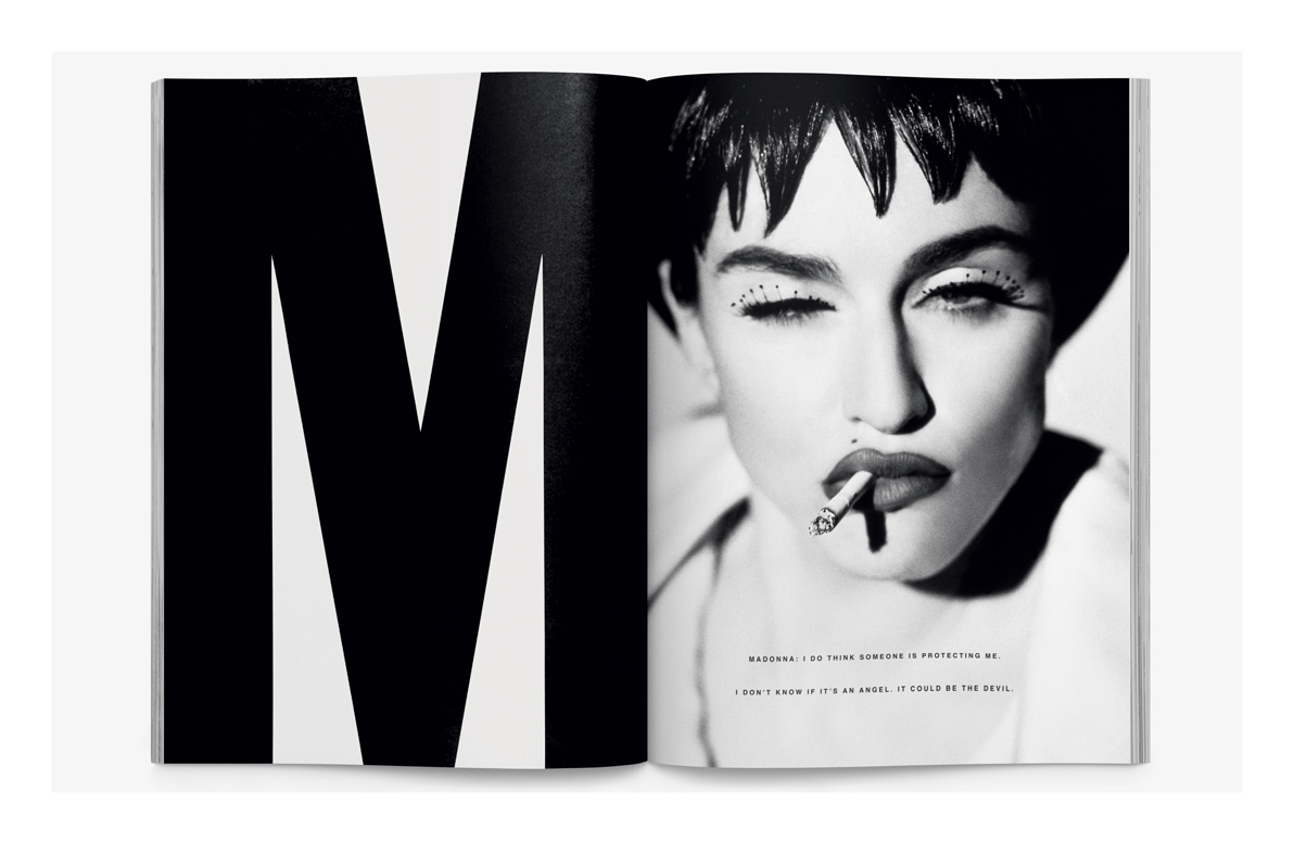 A spread from Interview magazine, 1990. Art direction by Fabien Baron, photography by Herb Ritts