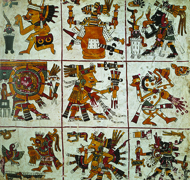Borgia Codex, artist unknown, deer skin, stucco and paint, Mexico, c.1497. From 30,000 Years of Art
