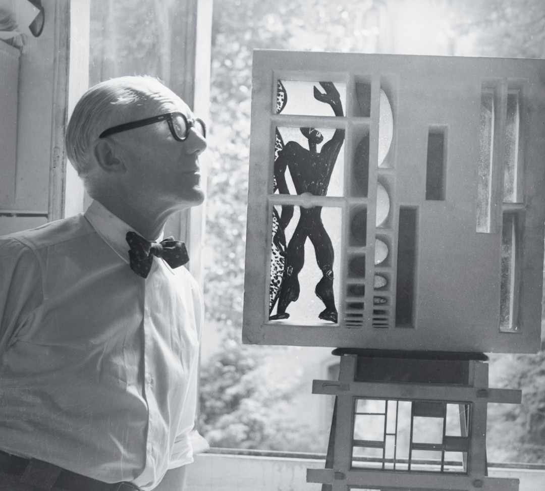 Le Corbusier with a Modulor-related model. Picture credit: courtesy Fondation Le Corbusier, Paris. As reproduced in Le Corbusier Le Grand