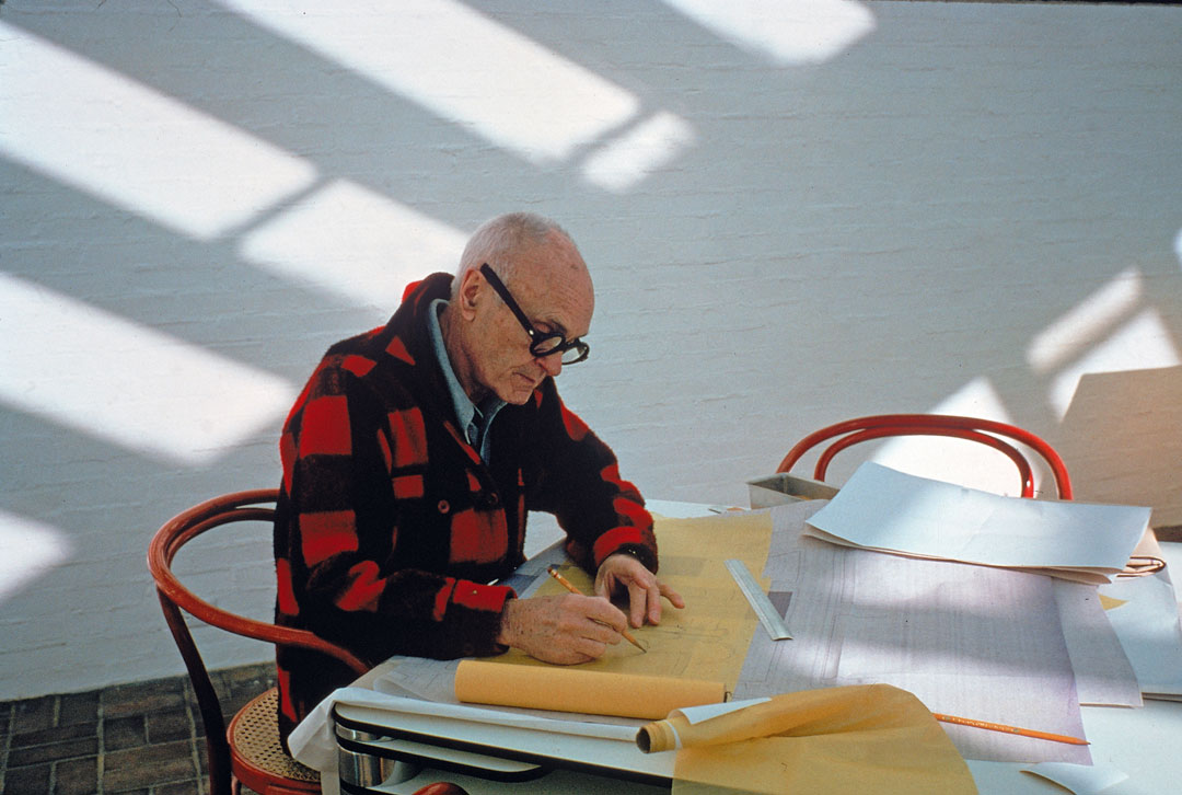 Philip working on a design, New Canaan, Connecticut, 1 January 1979
