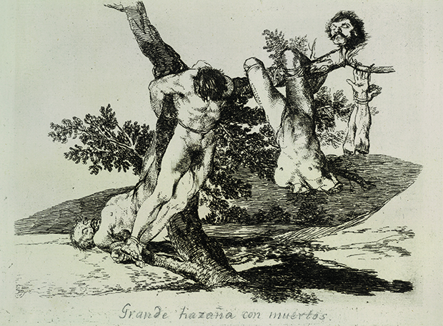 Francisco José de Goya y Lucientes, 'An Heroic Feat! With Dead Men!', etching, 15.5 x 20.5 cm (6 1/3 x 8 in), National Gallery of Art, Washington, DC. National Gallery of Art, Washington DC.  From Body of Art