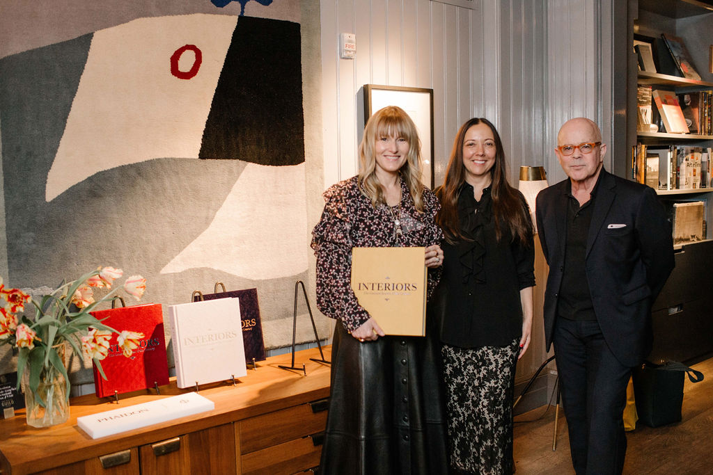 Architectural Digest's Amy Astley and Alison Levasseur with William Norwich at the launch for Interiors: The Greatest Rooms of the Century at Roman and Williams Guild New York