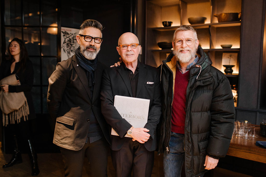 Phaidon's William Norwich (centre) with Todd Oldham (right) and a guest at the launch for Interiors: The Greatest Rooms of the Century at Roman and Williams Guild New York. All photographs by Jules Slütsky