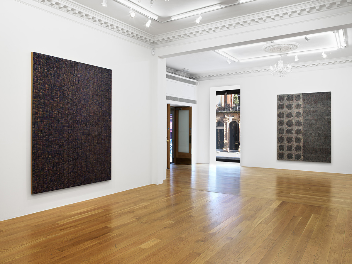 An installation view of DNA: Sepia by McArthur Binion at Massimo De Carlo, London