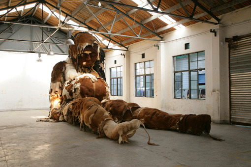 Zhang Huan - Giant No. 3, 2008 Cowskin, Steel, Wood and Polystyrene Foam ; 181 x 394 x 165 inches(460 x 1000 x 420 cm) ; ©Zhang Huan Studio, Courtesy of Pace Beijing