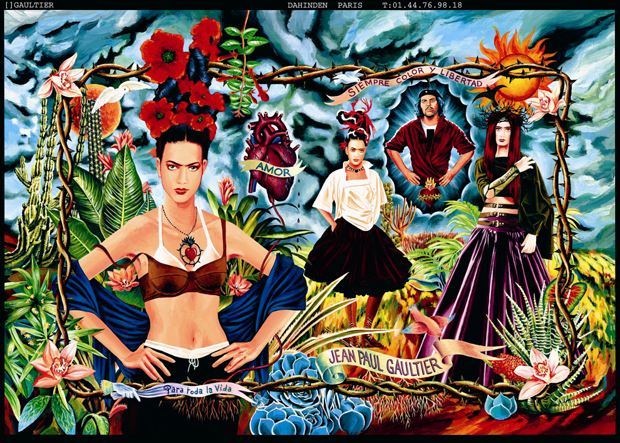 Ad campaign for the Tribute to Frida Kahlo collection.  Women's prêt-à-porter spring/summer 1998. Art direction and photography: Jean Paul Gaultier © Jean Paul Gaultier